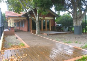Photo of decking pathway to tennis club